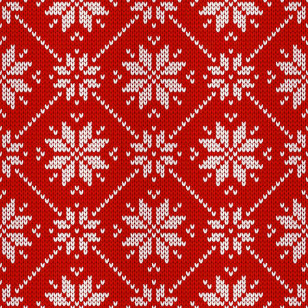 Winter holiday ornament with snowflakes. Christmas and New Year wool knitted sweater. Seamless pattern, vector illustration, traditional background. Векторная Иллюстрация