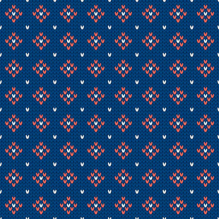 Winter knitted pattern. Nordic ethnic style ornament with rhombs and dots. Holiday vector background. Diamond pattern seamless texture.