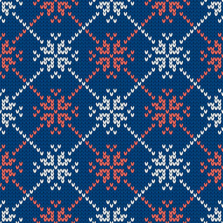 Winter holiday ornament with snowflakes. Christmas and New Year wool knitted sweater. Seamless pattern, vector illustration, traditional background.