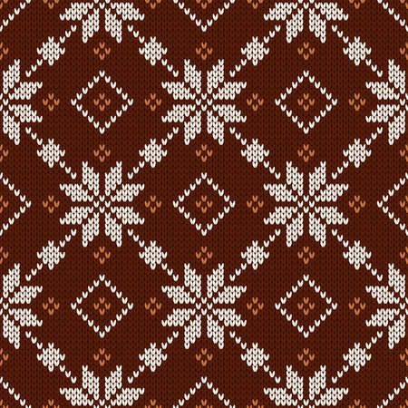 Christmas and New Year traditional knitted seamless pattern. Norwegian style sweater. Wool texture. Vector illustration with snowflakes. Holiday background.