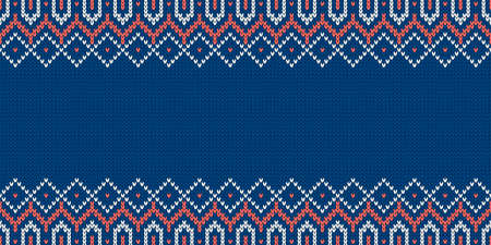 Knitwear texture. Template with empty place for text. Traditional seasonal wide background for holiday design. Winter knitted wool seamless sweater pattern. Christmas vector illustration.
