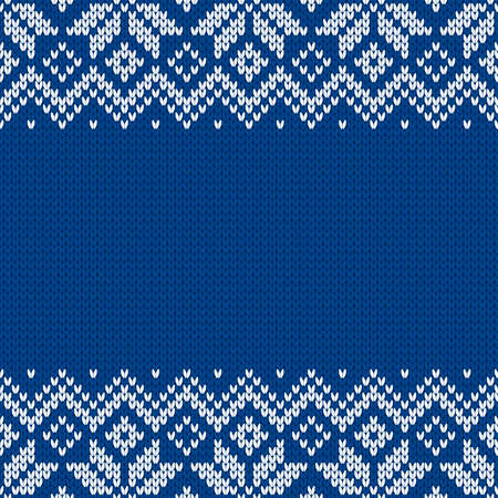 Knitwear texture. Template with empty place for text. Traditional seasonal seamless background for holiday design. Winter knitted wool sweater pattern with snowflakes. Christmas vector illustration. Vector Illustration