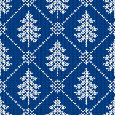 Winter traditional knitted pattern. Scandinavian style sweater. Seamless wool texture. Vector illustration with christmas trees. Holiday background.