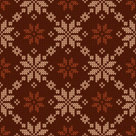 Scandinavian knitted seamless pattern. Norwegian native style sweater. Wool texture. Winter holiday background. Vector illustration with snowflakes.