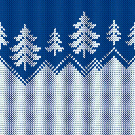 Winter sweater with Christmas trees and snowdrifts. Norwegian seamless knitting pattern. Fair Isle design. Holiday traditional background with text place. Vector illustration.