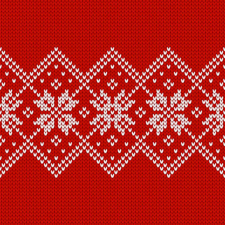 Scandinavian knitted seamless pattern. Norwegian native style sweater, ornament with snowflakes. Winter holiday background. Vector illustration.
