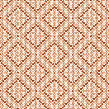 Winter knitted pattern. Nordic ethnic style ornament with snowflakes and rhombs. Holiday vector background. Diamond pattern seamless texture.  イラスト・ベクター素材