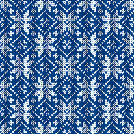 Christmas and New Year traditional knitted seamless pattern with snowflakes. Norwegian style sweater. Wool texture. Vector illustration. Holiday background.