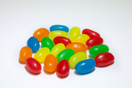 Fruit bright multicolored sweet caramel candies close-up of fruit candy Stock Photo