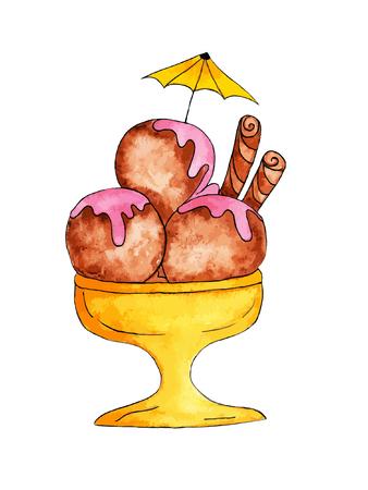 Watercolor Hand Drawn Tasty Ice Cream Illustration