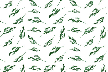Seamless pattern with watercolor leaves