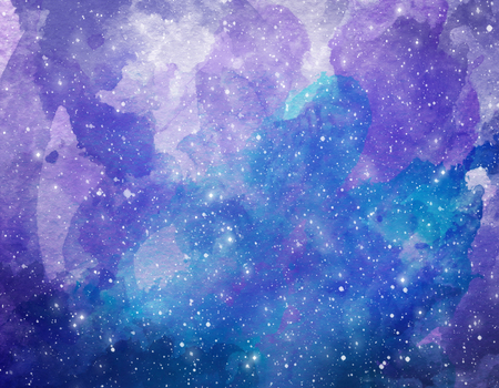 Space watercolor background. Abstract galaxy painting. Watercolor Cosmic texture with stars. Night sky 免版税图像
