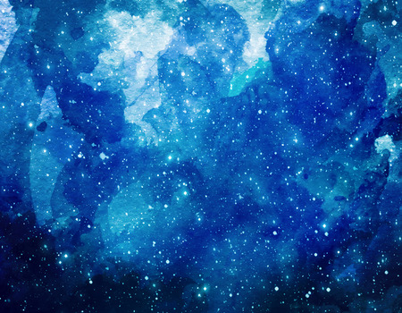 Space watercolor background. Abstract galaxy painting. Watercolor Cosmic texture with stars. Night sky