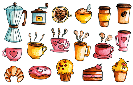 Watercolor hand drawn illustrations of coffee set and sweets 免版税图像