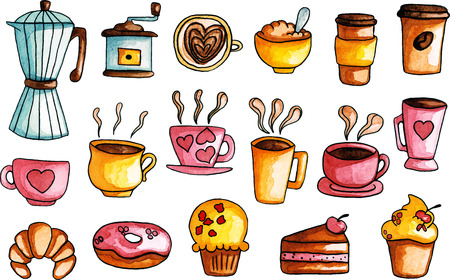 Watercolor hand drawn illustrations of coffee set and sweets 矢量图像