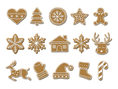 Cookies symbols shapes set. Gingerbread cookies isolated on white background.