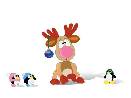 pinguinos navidenos: Reno de la Navidad con los ping�inos Vectores