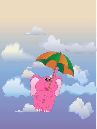 flown: Elephant flown away on umbrella Illustration