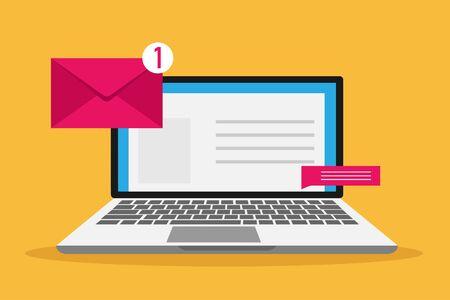 Iconos de comunicación de vector en estilo plano retro - correo, mensaje, contrato, dirección de sitio web. Ilustración de vector