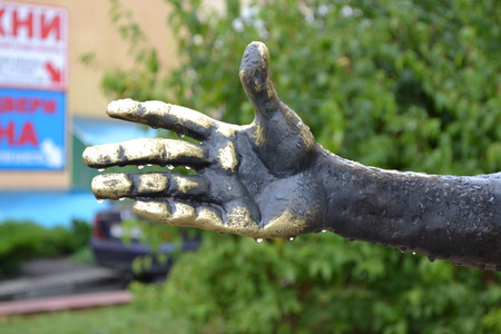 bronze: Bronze hand. Stock Photo