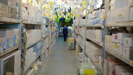 halogen lighting: Chandeliers in chain stores, an employee away