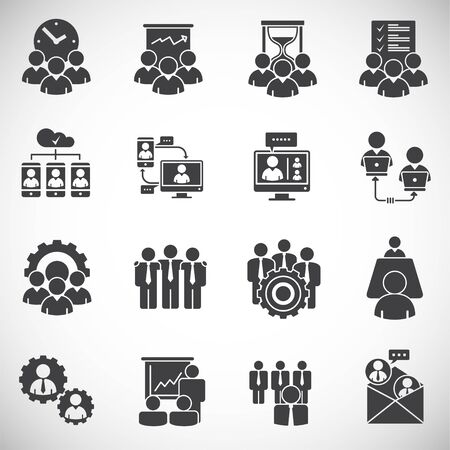 Teamwork related icons set on background for graphic and web design. Creative illustration concept symbol for web or mobile app.