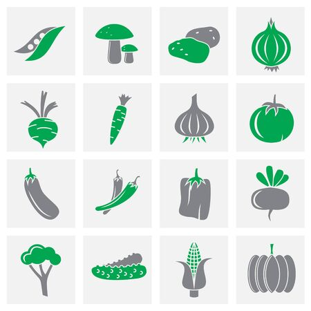 Vegetable related icons set on background for graphic and web design. Creative illustration concept symbol for web or mobile app.