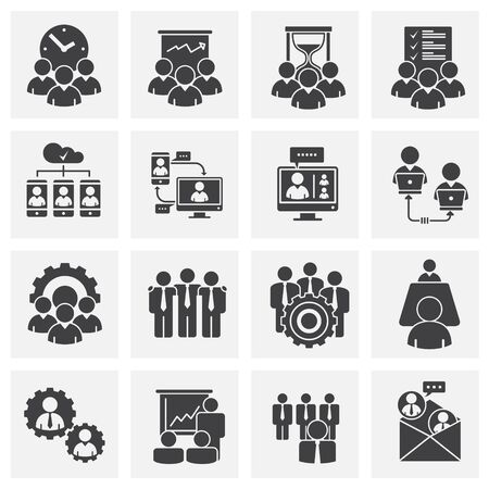 Icone relative al lavoro di squadra impostate sullo sfondo per la progettazione grafica e web. Simbolo del concetto di illustrazione creativa per app web o mobile.