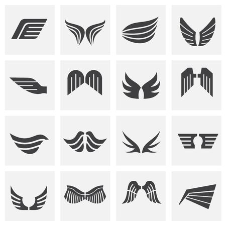 Wing related icons set on background for graphic and web design. Creative illustration concept symbol for web or mobile app.  イラスト・ベクター素材