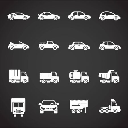 Car icons set on background for graphic and web design. Creative illustration concept symbol for web or mobile app.