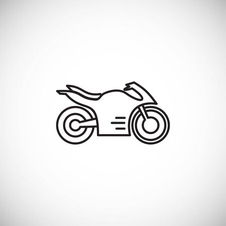 Icona del motociclo contorno sullo sfondo per la progettazione grafica e web. Simbolo del concetto di illustrazione creativa per app web o mobile Vettoriali