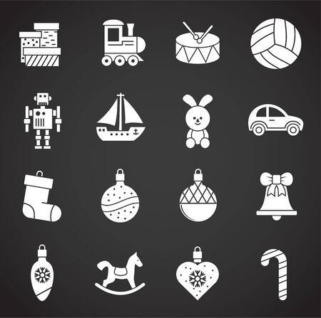 Christmas toys icons set on background for graphic and web design. Creative illustration concept symbol for web or mobile app.