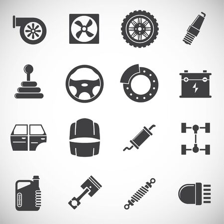 Car parts icons set on background for graphic and web design. Creative illustration concept symbol for web or mobile app.