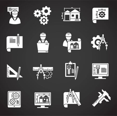 Engineering related icons set on background for graphic and web design. Creative illustration concept symbol for web or mobile app.