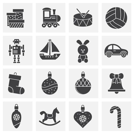 Christmas toys icons set on background for graphic and web design. Creative illustration concept symbol for web or mobile app. Vector Illustratie