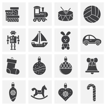 Iconos de juguetes de Navidad en fondo para diseño gráfico y web. Símbolo de concepto de ilustración creativa para web o aplicación móvil. Ilustración de vector