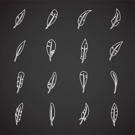 Feather icons set outline on background for graphic and web design. Creative illustration concept symbol for web or mobile app.