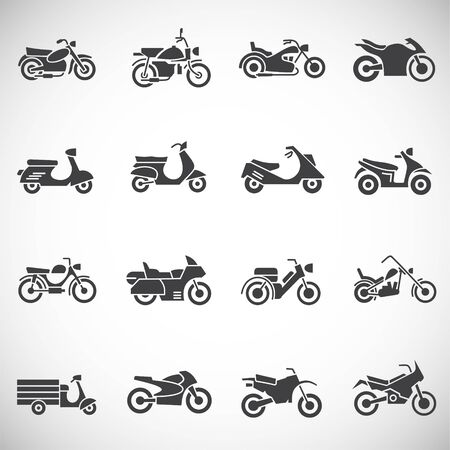 Motorcycle icons set on background for graphic and web design. Creative illustration concept symbol for web or mobile app.