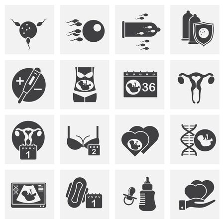 Reproduction related icons set on background for graphic and web design. Creative illustration concept symbol for web or mobile app Ilustracja