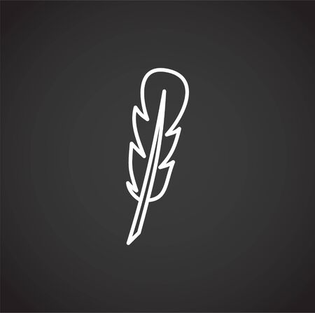 Feather icon outline on background for graphic and web design. Creative illustration concept symbol for web or mobile app.