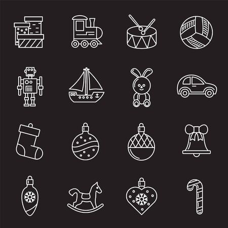 Christmas related toys icons set outline on background for graphic and web design. Creative illustration concept symbol for web or mobile app. Illustration