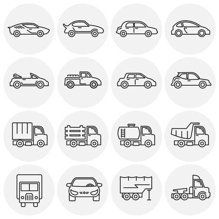 Ikony samochodu ustawić zarys na tle grafiki i projektowania stron internetowych. Symbol koncepcja kreatywnych ilustracji dla sieci web lub aplikacji mobilnej. Ilustracje wektorowe