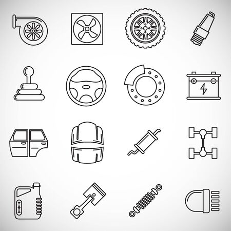 Car parts outline icons set on background for graphic and web design. Creative illustration concept symbol for web or mobile app.