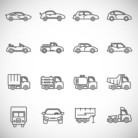 Car icons set outline on background for graphic and web design. Creative illustration concept symbol for web or mobile app. Ilustracja