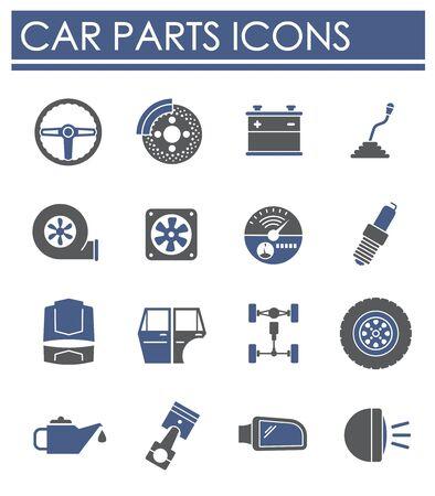 Car parts icons set on background for graphic and web design. Creative illustration concept symbol for web or mobile app Vektoros illusztráció