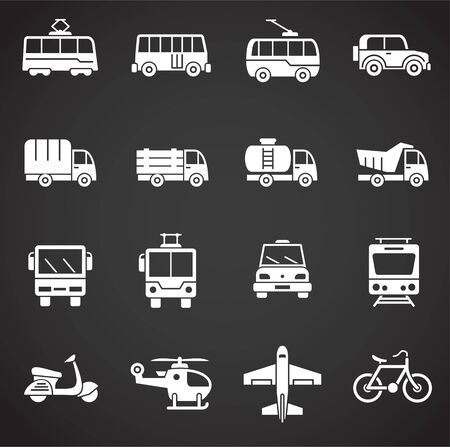 Transportation related icons set on background for graphic and web design. Creative illustration concept symbol for web or mobile app.