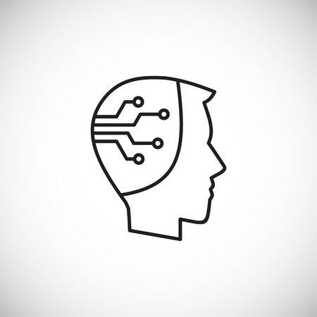 Icono relacionado con la IA en el fondo para diseño gráfico y web. Ilustración simple. Símbolo del concepto de Internet para el botón del sitio web o la aplicación móvil