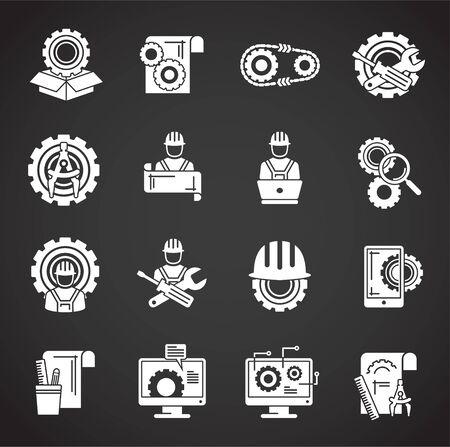 Engineering-bezogene Symbole im Hintergrund für Grafik- und Webdesign. Kreatives Illustrationskonzeptsymbol für Web oder mobile App.