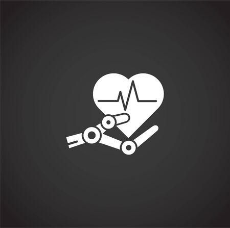 Icono relacionado con la cirugía robótica en el fondo para diseño gráfico y web. Símbolo de concepto de ilustración creativa para web o aplicación móvil