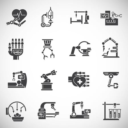 Robotic surgery related icons set on background for graphic and web design. Creative illustration concept symbol for web or mobile app Illustration